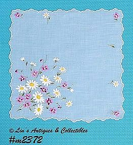 WHITE HANDKERCHIEF WITH EMBROIDERED FLOWERS
