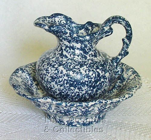 McCOY POTTERY -- BLUE COUNTRY PITCHER AND BOWL