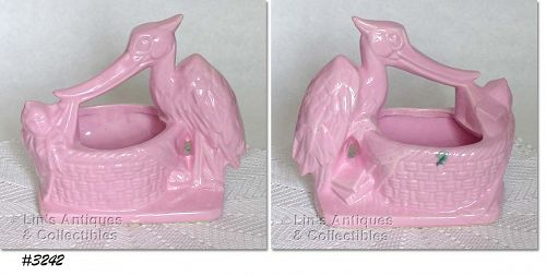 McCOY POTTERY -- STORK WITH BABY PLANTER (PINK)