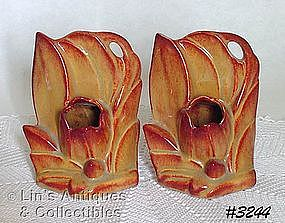 McCOY POTTERY -- OPEN FLOWER BOOKENDS