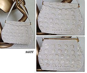 WHITE BEADED EVENING BAG
