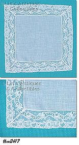 WEDDING HANDKERCHIEF, WHITE WITH LACE