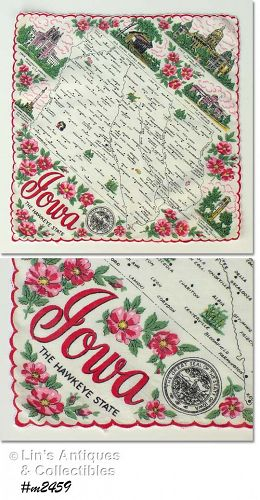 STATE SOUVENIR HANDKERCHIEF, IOWA, THE HAWKEYE STATE
