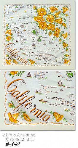 SOUVENIR STATE HANDKERCHIEF, CALIFORNIA