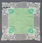 HANDKERCHIEF WITH LACE AND ATTACHED FLOWERS