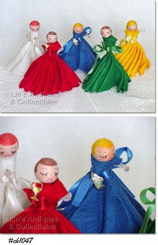 5 FELT CHRISTMAS LADIES