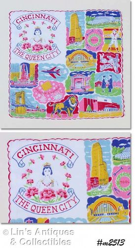 "SOUVENIR HANDKERCHIEF, CINCINNATI ""THE QUEEN CITY"""