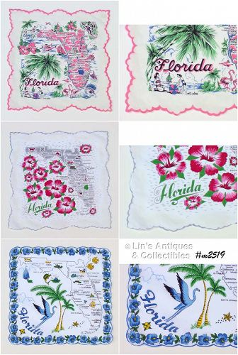 STATE SOUVENIR HANDKERCHIEF, FLORIDA (3 AVAILABLE)
