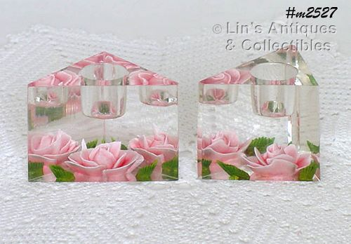 LUCITE PINK ROSE CANDLEHOLDERS