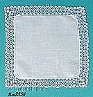 WHITE HANDKERCHIEF WITH PINK CROCHET