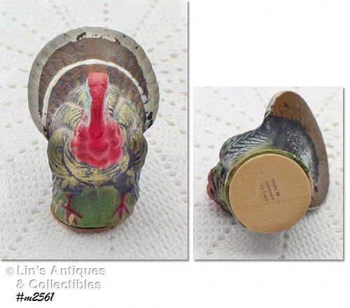 "GERMANY U.S. ZONE VINTAGE TURKEY CANDY CONTAINER (3 1/4"")"