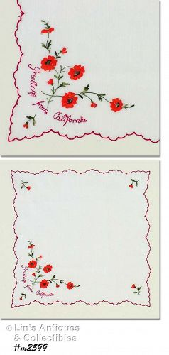 SOUVENIR HANDKERCHIEF -- GREETINGS FROM CALIFORNIA