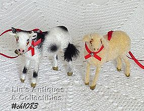 SHEEP AND COW ORNAMENTS -- WEST GERMANY