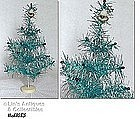 BLUE AND SILVER TINSEL TABLETOP CHRISTMAS TREE