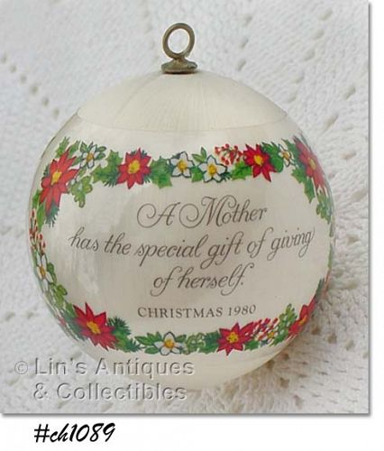 "HALLMARK -- CHRISTMAS 1980 ""MOTHER"" ORNAMENT"