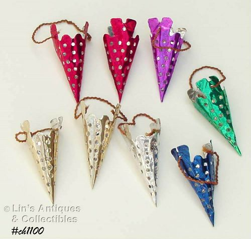 8 ALUMINUM CONE SHAPED ORNAMENTS