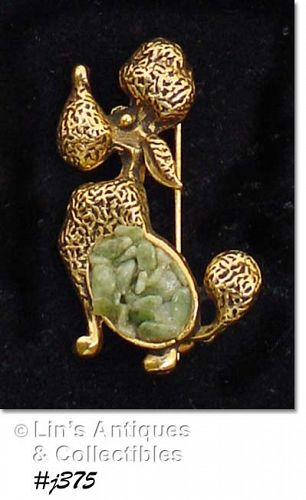 POODLE PIN WITH JADE CHIPS BODY
