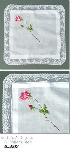 WHITE HANDKERCHIEF WITH LARGE PETIT POINT ROSE