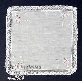 WHITE HANDKERCHIEF WITH PINK AND WHITE FLOWERS