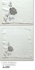 MADEIRA BLACK AND WHITE ROSE HANDKERCHIEF
