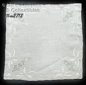 BEAUTIFUL WEDDING HANDKERCHIEF WITH HEARTS