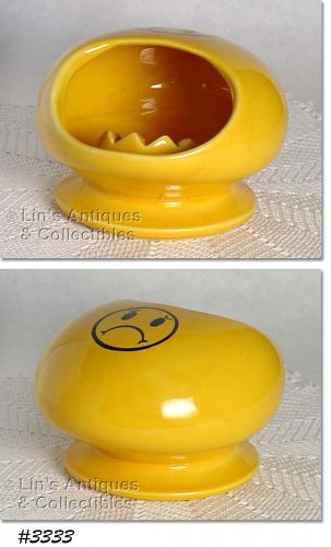 McCOY POTTERY -- UNHAPPY SMILEY FACE ASHTRAY