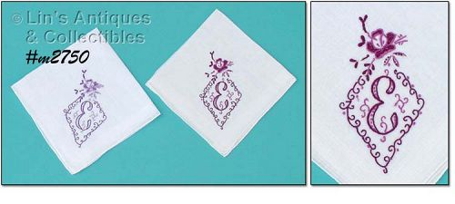 PAIR OF HANDKERCHIEFS MONOGRAMMED �E�