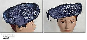 NAVY BLUE RAFFIA AND RIBBON HAT