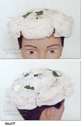 HAT WITH ROSES AND LEAVES