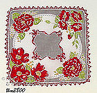 HANDKERCHIEF WITH RED FLOWERS AND RED TATTING