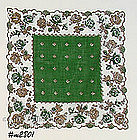 HANDKERCHIEF WITH GREEN AND GOLD ROSES