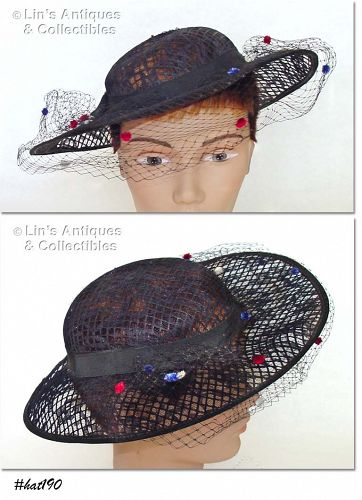 BLACK HAT WITH NETTING VEIL