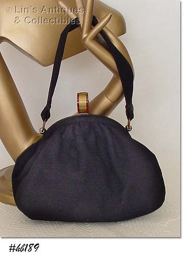 BLACK HANDBAG WITH BAKELITE CLOSURE