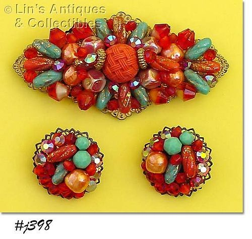 LARGE PIN WITH MATCHING EARRINGS (SHADES OF ORANGE)