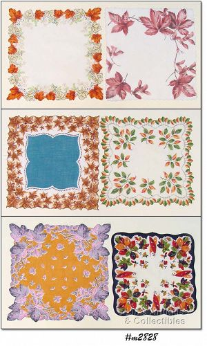 LOT OF SIX COLORFUL FALL LEAVES VINTAGE HANDKERCHIEFS