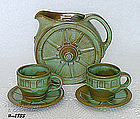 FRANKOMA POTTERY -- 2 CUPS WITH SAUCERS (WAGON WHEEL)