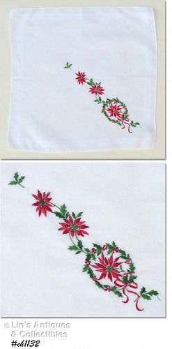 EMBROIDERED CHRISTMAS HANDKERCHIEF