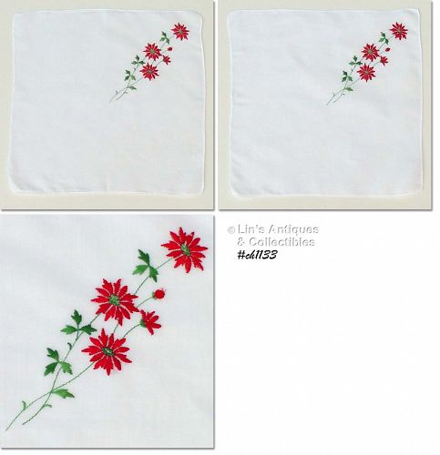 EMBROIDERED POINSETTIA CHRISTMAS HANDKERCHIEF