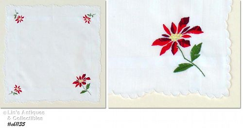 CHRISTMAS HANKY WITH EMBROIDERED RED POINSETTIAS