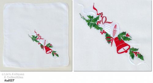 CHRISTMAS HANKY WITH EMBROIDERED BELLS