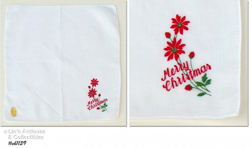 EMBROIDERED �MERRY CHRISTMAS� HANKY