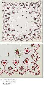 VALENTINE HANKY WITH HEARTS, ROSES, LILY OF THE VALLEY