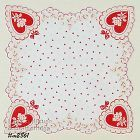 RED HEARTS AND WHITE ROSES VALENTINE HANKY