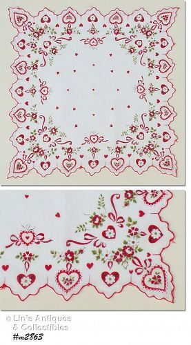 FANCY HEARTS AND FLOWERS VALENTINE HANKY