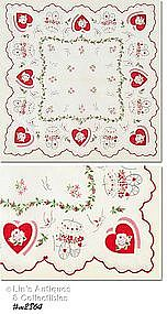 HEARTS, BUTTERFLIES, AND FLOWER CARTS VALENTINE HANKY