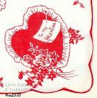 �TO MY VALENTINE� RED HEARTS HANDKERCHIEF