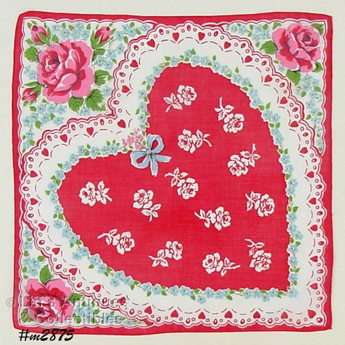 LARGE RED HEART VALENTINE HANKY