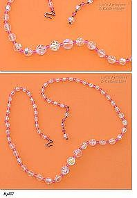 BEAUTIFUL PINK AND AURORA BOREALIS GLASS BEAD NECKLACE