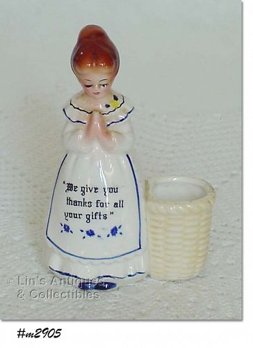 ENESCO � PRAYER LADY TOOTHPICK HOLDER (WHITE DRESS)