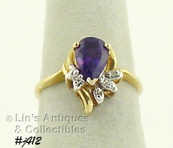 10K RING WITH AMETHYST AND DIAMONDS (SIZE 5 3/4)